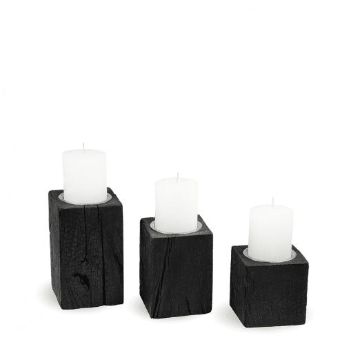 Candleholder LUNA Yakisugi Plain